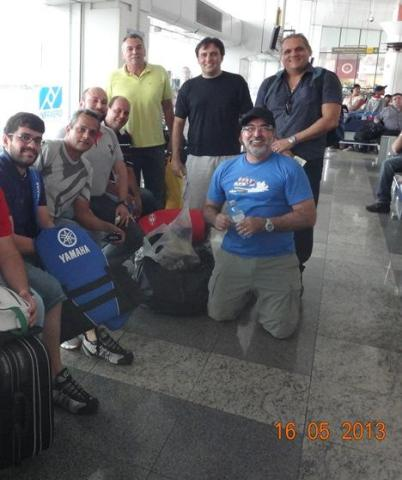 Alguns dos pilotos, no aeroporto de Belém,