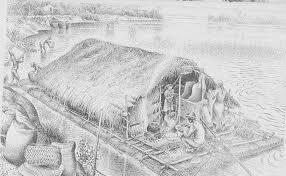 Iconografia de uma balsa de buriti visualizada em nanquim