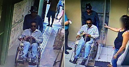 Cadeira de rodas foi usada pelos bandidos, para não passar pelo detector de metais e entrar armados. (Foto: via Whatsapp)
