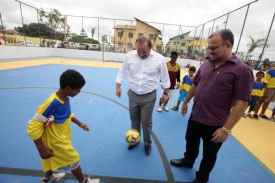 Governador Helenilson Pontes e o prefeito de Marabá, João Salame durante entrega do residencial. Fotos de Antonio Silva/ AG. Pará